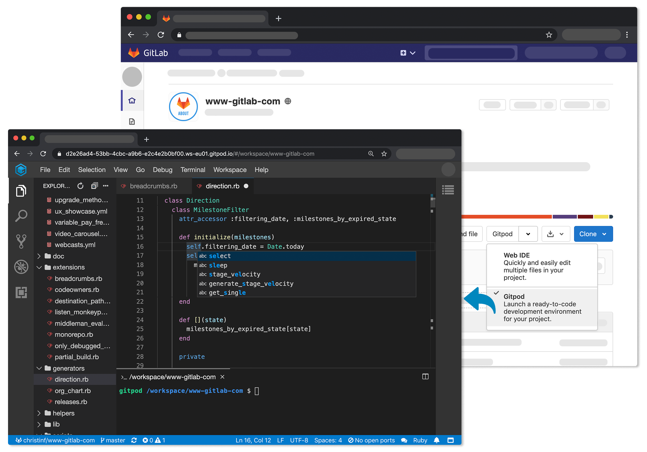 Launching a Gitpod instance from within GitLab